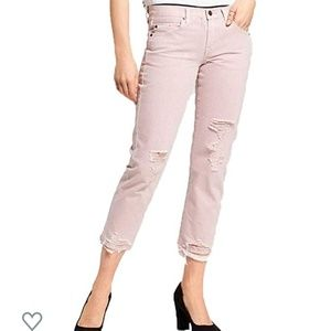 New Mossimo destroyed boyfriend cropped Pink jeans